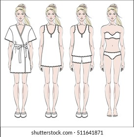 Set of women s homewear, sleepwear and underwear. Bathrobe, nightgown, pyjama and lingerie on female figure. Vector illustration.