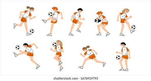 Set of women s soccer team wearing red uniforms in different action poses. Vector illustration in flat cartoon style.