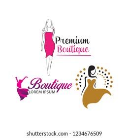Set of Women shape boutique, spa logo. woman fashion logo, vector. Beauty logo design