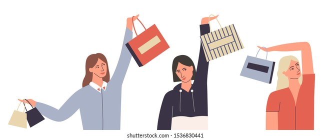 Set of women with shopping bags. Women who love shopping. Bundle of female characters holding shopping bag above his head. Flat vector illustration