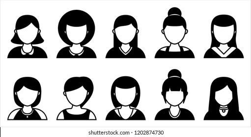 Set of women silhouette icons on white background