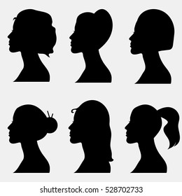 Set of women silhouettes in profile with hair style.