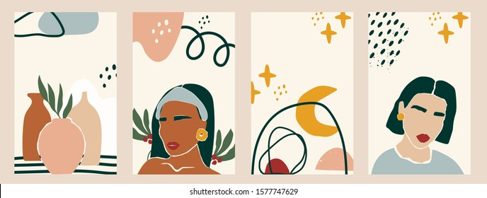 Set of women silhouettes and various objects. Abstarct female portraits. Paper cut mosaic style. Modern hand drawn vector illustrations. Flat design. Social media backgrounds. SmartPhone wallpapers