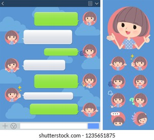 A set of women in Sportswear with expresses various emotions on the SNS window.There are variations of emotions such as joy and sadness.It's vector art so it's easy to edit.