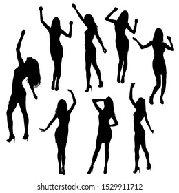 Set of women standing and dancing  in various poses,  hands up,  group business  people, vector silhouette,  black color, isolated on white background