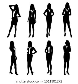 Set of women standing  in various poses, cartoon character,  group business  people , vector silhouette, flat designe icon, black color, isolated on white background