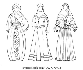 A set of women in traditional Muslim clothes. Hijab and Abaya and a long dress. Set of coloring pages for girls
