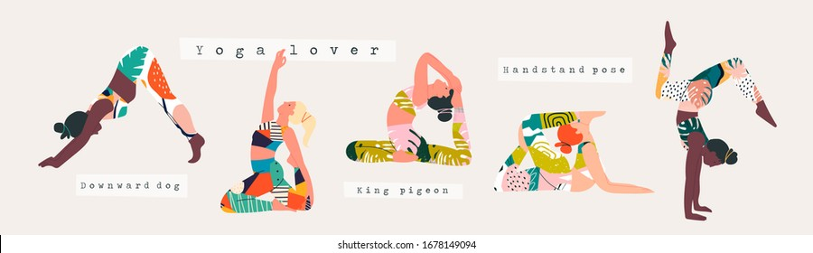 Set of women wearing bright sportswear doing Yoga. Girl in colorful clothes working out. Hand drawn colored Vector illustrations. Weight Loss. Health care and lifestyle concept. Calmness and relax
