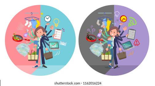 A set of women who perform multitasking in offices and private.There are things to do smoothly and a pattern that is in a panic.It's vector art so it's easy to edit.