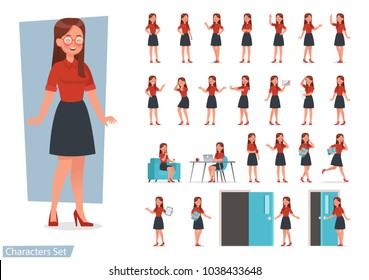 set of women working in office and presentation in various action.