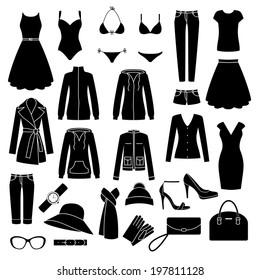 Set of women's clothes and accessories icons.