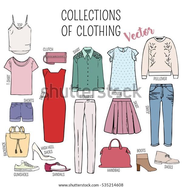 Set Womens Clothes Shoes Handbags Top Stock Vector (Royalty