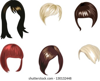 set of women's hairstyles