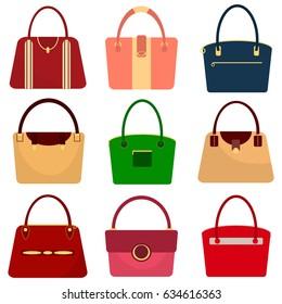 A set of women's handbags, a women's bag. Flat design, vector illustration, vector.