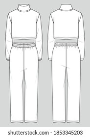 Set of women's homewear. Fashion sketch. Crop turtleneck and straight pants. Vector illustration. Flat technical drawing. Mockup template.