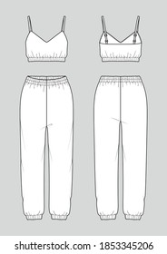 Set of women's homewear. Fashion sketch. Crop top and jogger pants. Vector illustration. Flat technical drawing. Mockup template.