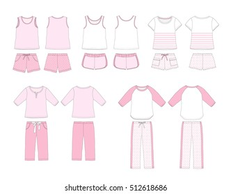 Set of women's homewear and sleepwear illustration on white background
