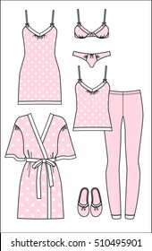 Set of women's homewear, sleepwear and underwear. Polka dot print bathrobe, nightgown, pyjama, slippers, bra and panty on white background. Vector illustration.