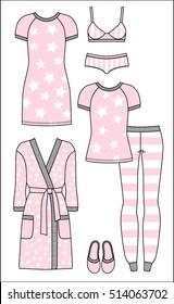 Set of women's homewear, sleepwear and underwear. Pink bathrobe, nightgown, pyjama, slippers, bra and panty on white background. Vector illustration