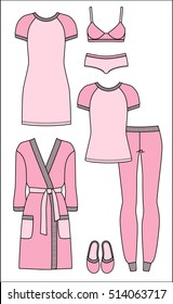 Set of women's homewear, sleepwear and underwear. Pink bathrobe, nightgown, pyjama, slippers, bra and panty on white background. Vector illustration