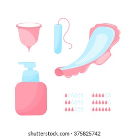 Set of women's hygiene pads, Intimate woman hygiene
