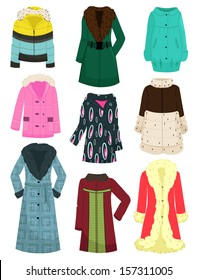 A set of women's jackets, coats, sheepskin coats, etc. for the winter and late autumn