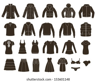 Set of women's and men's clothing.