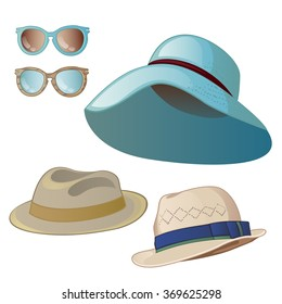 Set women s and men s hats. Sunglasses isolated on a white background.  Cartoon vector close 11d28991a367