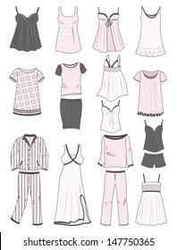 A set of women's pajamas and nighties