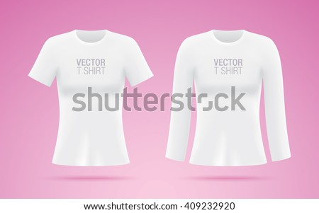 368222b8 Set of women's short and long sleeve vector shirts. White T-shirt templates  isolated on pink background. Realistic mockup. - Vector