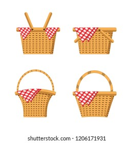 set wood basket with tablecloth decoration