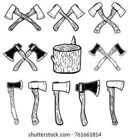 Set of the wood cuts, lumberjack axes. Design elements for logo, label, emblem, sign, badge. Vector illustration