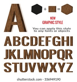 Set of wood letters and wood graphic style, vector. EPS 10.