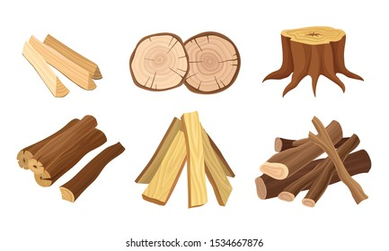 Set of Wood Logs for Forestry and Lumber Industry Vector Illustrated Set