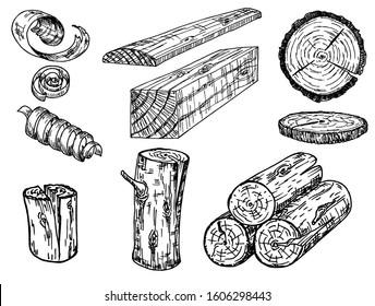 Set of wood logs for forestry and lumber industry. Illustration of trunks, stump, shavings and planks. Sketch