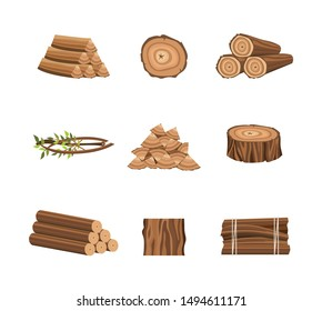 Set of wood logs or icons for forestry and lumber industry flat vector illustrations isolated on white background. Wooden trunks, stump and planks design elements.