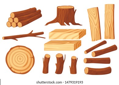 Set of wood logs for lumber industry with trunks stump and planks flat vector illustration isolated on white background