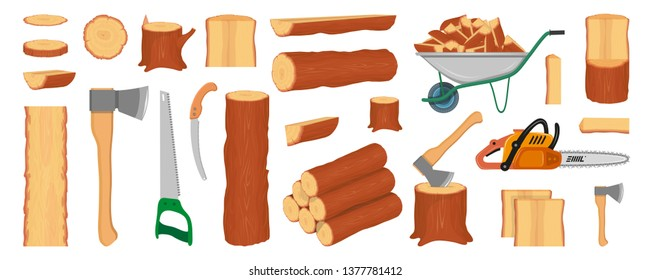 Set of wood logs, trunks, stump and planks. Woodcutter or lumberjack tools. Forestry. Firewood logs. Tree wood trunk. Wood bark and tree log. Firewood and crust. Firewood for sale. Vector graphics