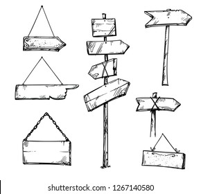 Set of wooden arrow signs, hand drawn vector illustration