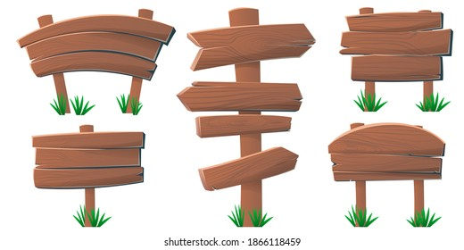 Set of wooden banner signboard. Wooden signs, arrows and pointers for games. Blank, transparent isolated wooden boards. Can be used for old signposts. Vector illustration