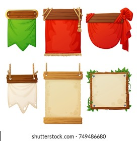 Set of wooden banners with decorative cloth flags and paper posters. Cartoon vector illustration