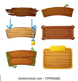 Set of wooden banners with decorative elements. Game dark and light sign boards isolated on white background. Cartoon vector illustration