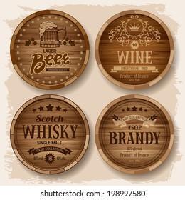 Set of wooden barrels with alcohol drinks emblems. Vector illustration