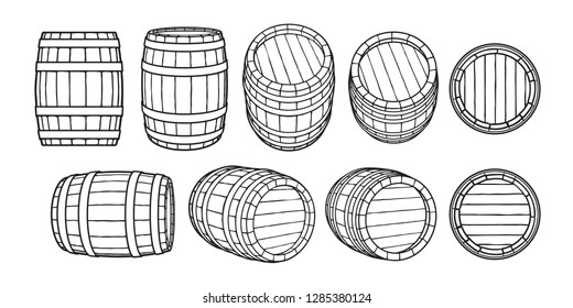 Set of wooden barrels in different positions. Front and side view,black at different angles Vector illustrations isolated on white background.