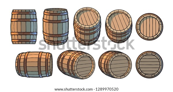 Set of wooden barrels in different positions. Front and side view,black at different angles. Vector illustrations isolated on white background.