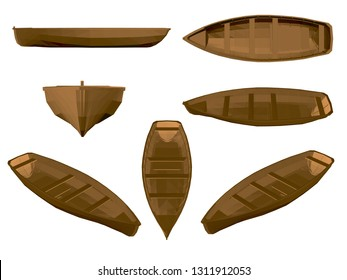 Set with wooden boat. Brown wooden boat in different positions. 3D. Side, front, isometric, top view. Vector illustration with boats.