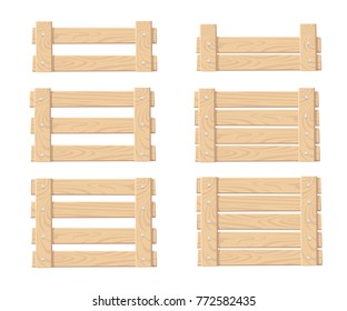 Set of wooden box for vegetables keeping and fruits food crates front view vector illustration isolated on white background website page and mobile app design.