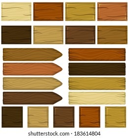 Set of wooden bricks and planks in cartoon style