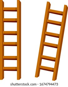 Set of wooden brown stairs. Go up to the top level. Straight and inclined objects. Rustic country Equipment