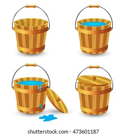 Set of wooden buckets. Wooden bucket with clean drinking water. Wooden bucket with a lid and handle. Vector illustration.